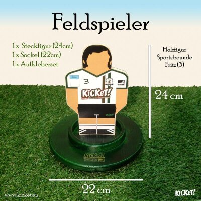 Flat wooden figure, sticker and wooden base